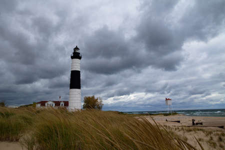 huron: Remote Big Sable Lighthouse stands guard on the windswept Lake Michigan coast  Ludington State Park  Ludington, Michigan