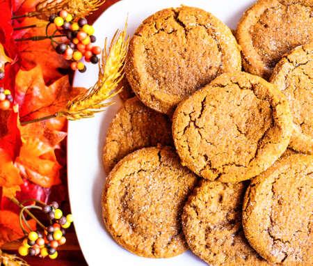 Pumpkin cookies with seasonal décor as the backdrop Stock Photo - 28029689