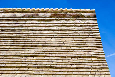 Time For A New Roof  Cedar shingle roof beautiful and durable   Stock Photo