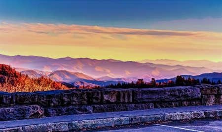 newfound gap: Smoky Mountain horizon as viewed from the Newfound Gap Overlook  Great Smoky Mountains National Park