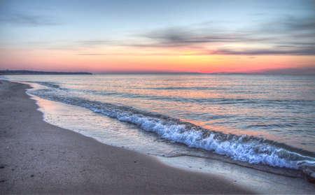 Gorgeous sunset horizon over the beautiful Atlantic Ocean   Stock Photo