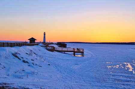 Winter walk along the St  Ignace boardwalk which is also part of the beautiful North Country Trail  St  Ignace, Michigan   photo
