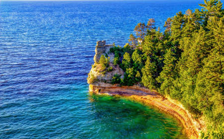 pictured: Panoramic view of Miner s Castle located in Pictured Rocks National Lakeshore  Munising, Michigan