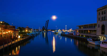 Gorgeous downtown Port Huron waterfront illuminated by moonlight  Port Huron, Michigan   photo