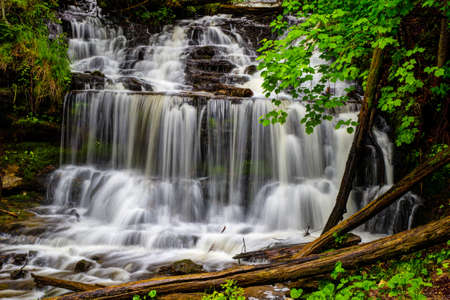 alger: Gorgeous Wagner Falls flows through the beauty of the wilderness forest  Wagner Falls Scenic Site  Alger County, Michigan   Stock Photo