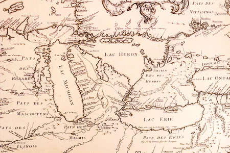 huron: Historical French map of the Great Lakes circa 1700 s   Stock Photo