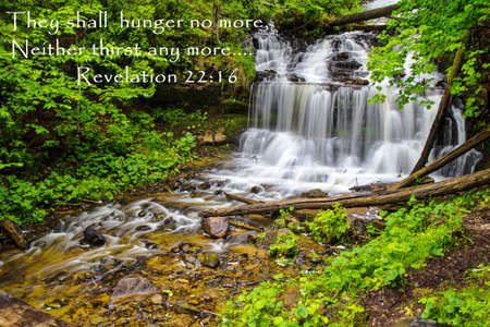 Wilderness waterfall with inspirational bible verse   Stock Photo