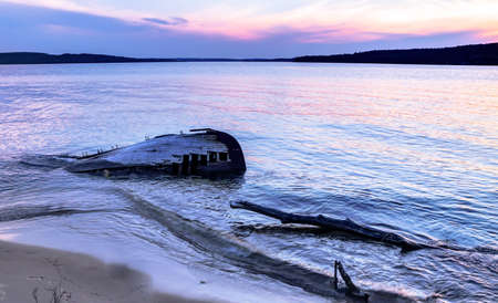 Shipwreck along a remote Lake Superior beach in Pictured Rocks National Lakeshore in Michigan s Upper Peninsula  photo