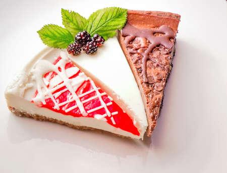 Cheesecake Sampler  Cherry, berry, and chocolate cheesecake