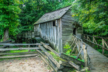 The Cable Grist Mill in Cades Cove is one of many historical structures located within the Great Smoky Mountains National Park. Gatlinburg, Tennessee. photo
