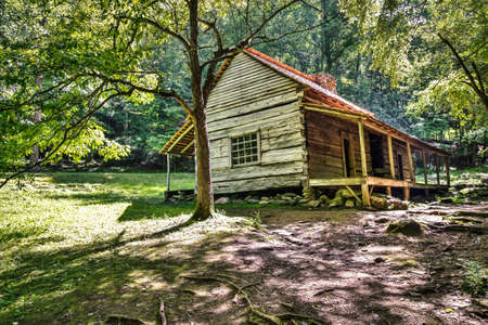 The Ogle Historical Cabin located along Roaring Fork Motor Nature Trail. Great Smoky Mountains National Park. Gatlinburg, Tennessee.