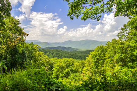 Panoramic overlook from the Great Smoky Mountains National Park. Gatlinburg, Tennessee. photo