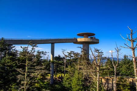 Clingmans Dome Summit. Clingmans Dome lookout tower at the tallest point of the Great Smoky Mountains National Park. Фото со стока