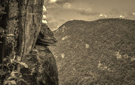 Natural rock formation known as the Devils Head in Chimney Rock State Park. Chimney Rock, North Carolina. photo