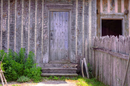 state owned: Front door of a historical cottage.  Fort Michimilimackinaw. Mackinaw City, Michigan. (This is not a privately owned residence. It is a public building in a state park.)