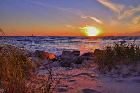 ludington: Gorgeous sunset over the Lake Michigan horizon. Ludington State Park. Ludington, Michigan