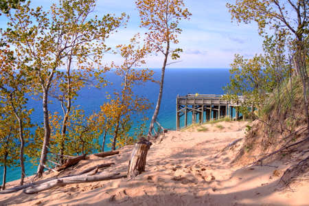 Scenic Lake Michigan overlook from the top of Sleeping Bear Dunes National Lakeshore. Empire, Michigan. photo