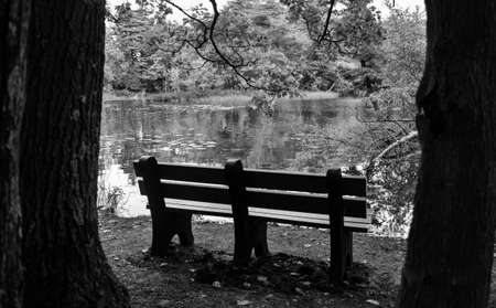 ludington: Park bench on the riverbank. Ludington State Park. Ludington, Michigan.
