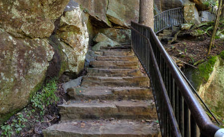 natural bridge state park: Stone stairway climbs up out of a ravine. Cumberland Falls State Park. Kentucky, USA.