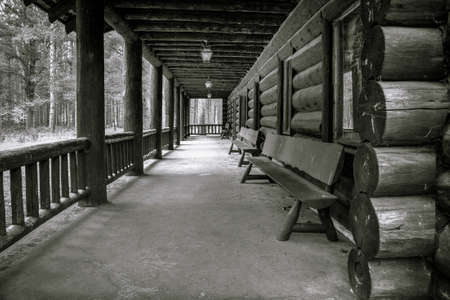 utilized: Historical Lodge. Porch of historical log cabin utilized by the CCC in the 1940\