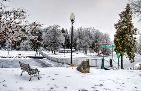 michigan snow: City park transformed into a winter wonderland by fallen snow in Croswell, Michigan. Stock Photo