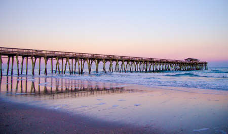 grand strand: Pier along the Myrtle Beach coast on the beautiful Atlantic Ocean.