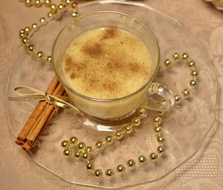 egg nog: Christmas Eggnog. Egg nog with cinnamon and nutmeg. Stock Photo