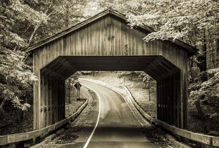 pierce: Covered bridge on the Pierce Stocking Scenic Drive in Sleeping Bear Dunes National Lakeshore. Empire, Michigan. Editorial