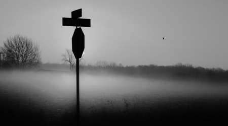 crossroads sign: The Crossroads. Country crossroad shrouded in a heavy fog.