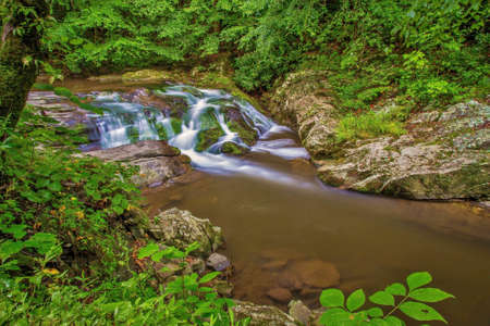 smoky: Smoky Mountain Beauty.  Stream and waterfall flows through the pristine wilderness of  the Great Smoky Mountains National  Park. Gatlinburg, Tennessee.