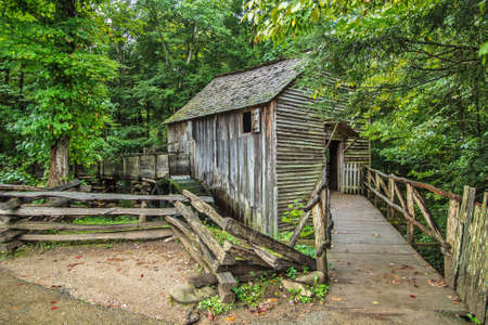 gristmill: The Old Mill. Historic grist mill on display in the Great Smoky Mountain National Park. Gatlinburg, Tennessee. Editorial