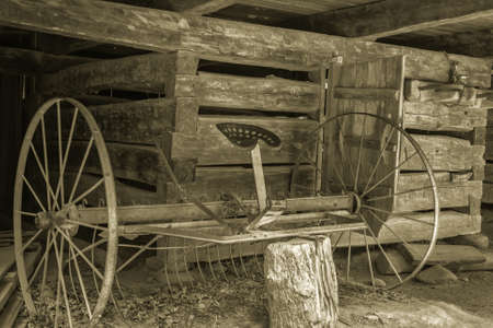 horse drawn: Antique horse drawn plow.