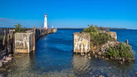guard house: The Wawatam Lighthouse along the St. Ignace waterfront. Stock Photo