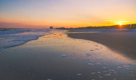 grand strand: Myrtle Beach Sunset.  The sunsets along the wide sandy beaches of South Carolinas Grand Strand. Stock Photo