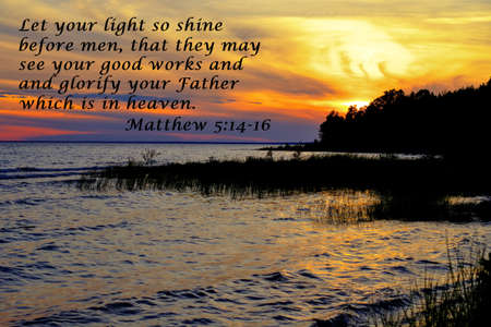 verse: Let Your Light Shine. Sunset silhouette with inspirational verse from the book of Matthew. Stock Photo