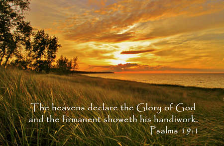 Golden sunset on the Great Lakes shore with inspirational quote from the book of Psalms.