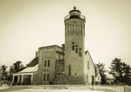 mackinac: The Mackinaw Point Lighthouse has stood on the shores of the Mackinac Straits for over a century and has withstood over a century of brutal Northern Michigan winters.