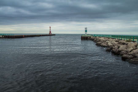 Pentwater River. The mouth of the Pentwater River as it empties into Lake Michigan. The Pentwater is a popular fishing location during the fall salmon run.