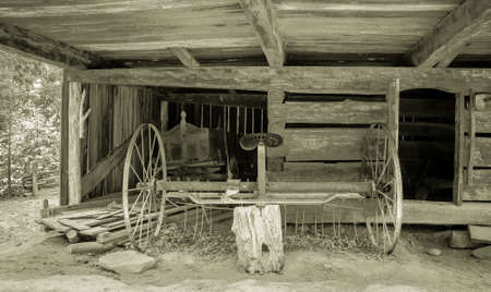 pioneer: Pioneer Farming. Interior of a pioneer barn in the Great Smoky Mountains National Park. This is a public display on federal lands and is not privately owned property.