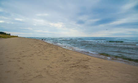 silver state: Lake Michigan Horizon. The blue waters of Lake Michigan meet the blue sky at the horizon. Silver Lake State Park. Mears, Michigan. Stock Photo