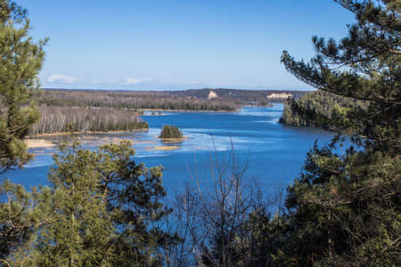 national scenic trail: Scenic overlook along the Highbanks Trail in the Huron National Forest. Glennie, Michigan. Stock Photo