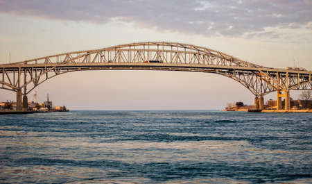clair: The twin spans of the Blue Water Bridges crossing between Sarnia, Ontario and Port Huron, Michigan. This is the second busiest crossing between the US and Canada with the first being the Windsor Tunnel.