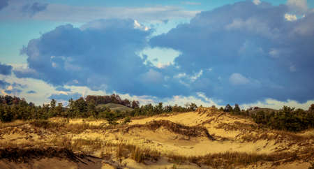 ludington: Freshwater Sand Dunes. Freshwater sand dunes along the Lake Michigan shore. The Great Lakes have the largest freshwater dunes in the world. Ludington State Park. Ludington, Michigan. Stock Photo