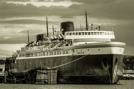 ludington: April 5, 2015. Ludington, Michigan. The SS Badger is undergoing extensive updating to comply with new EPA regulations. The SS Badger is the last known operating coal powered ship in America. Editorial