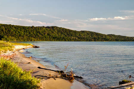 pictured: Lake Superior Coast. Shore of Lake Superior along the Pictured Rocks National Lakeshore in Munising, Michigan.