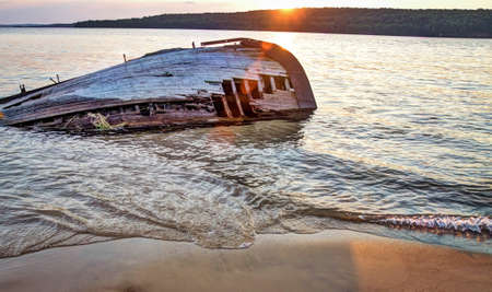 lakeshore: Shipwreck along a remote Lake Superior beach in Pictured Rocks National Lakeshore in Michigan