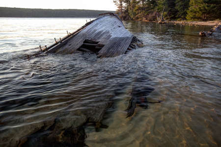 beached: Shipwreck beached along the remote and wild Lake Superior coast. Stock Photo