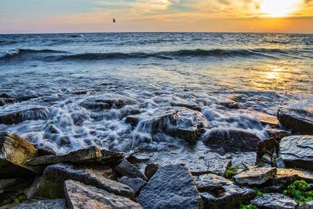 Lake Michigan Shore. The rocky Lake Michigan coast along the remote shores of Fayette State Park in Michigan\\\\\\\\ Stock Photo