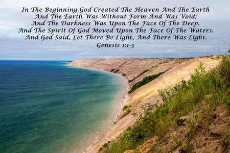 fundamentalism: In The Beginning. Quote from the book of scriptures with a large Great Lakes sand dune as the background.