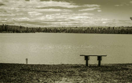 bench alone: Alone. One park bench on the shore of a remote wilderness lake.